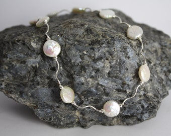 Sterling silver and cream freshwater pearl necklace