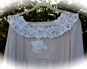Dove Grey and Water Lily Belle Blouse  Boho Romantic Flowing Flouncy  Mixed Laces Crochet Flower High LowShabby Chic Lagenlook Lace Collar