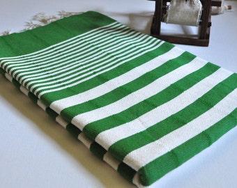 Turkish Towel Peshtemal Towel Woven Denim Green ivory striped for Bath and Beach
