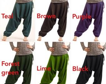 HAREM pants, yoga trousers, harem trousers, drop crotch trousers, Alibaba pants, Aladdin pants, sarouel, psytrance goa pants, Catraf