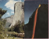 "Ca. 1950's ""El Capitan and the Firefall"" Yosemite National Park, CA Topographical Picture Postcards - 1734"