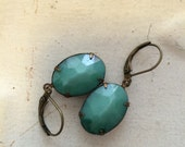 Chinese Jade Vintage Glass Stones Earrings Aged Brass Oval Setting European Ear Wires
