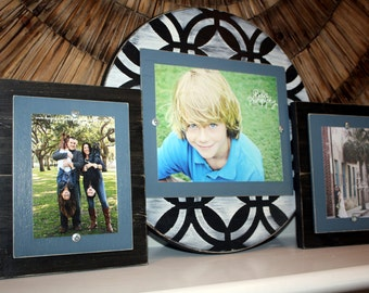 Distressed Picture Frames, Wall Gallery, Set of Three, 8x10 Frame, 5x7 Frames, Painted Wood Frames