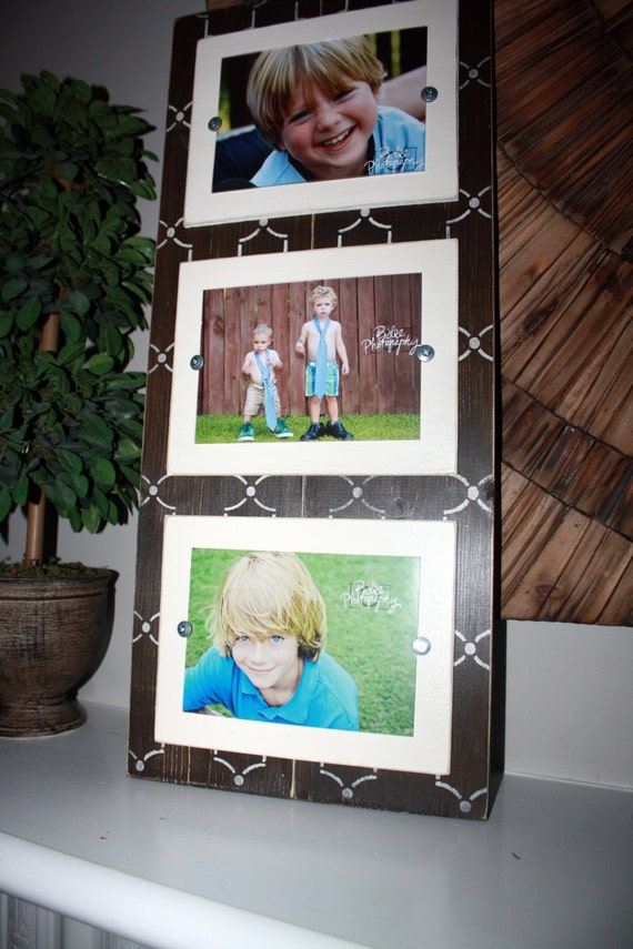 items similar to triple 5x7 frame collage frame triple picture frame distressed picture frame. Black Bedroom Furniture Sets. Home Design Ideas