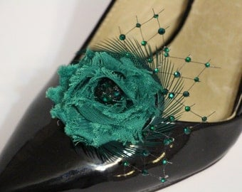 Shoes clips -  emerald green flower and crystal