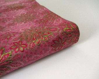 Green Benares silk from Varanasi India silk brocade fabric nr 481 fat quarter