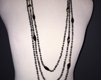 Triple Tiered Chain and Beaded Necklace