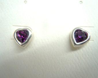 Sterling Silver and Faux Amethyst Crystal Heart Pierced Earrings
