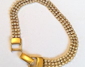 Rhinestone Bracelet, MId Century Vintage Jewelry, SUMMER SALE
