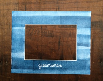 Customizable Letterpress Groomsmen Picture Frame Mat with Hand-rolled Ink