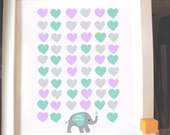 Baby Shower Custom   Elephant Guestbook  Print - Personalized Print -42 hearts  Nursery Print -(Includes Instruction card)