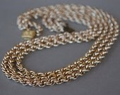 Vintage West Germany Eloxal Chain Necklace Three Twisted Aluminum Chains 1950's // Vintage Costume Jewelry