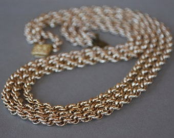 Vintage West Germany Necklace Eloxal Chain Three Twisted Aluminum Chains 1950's // Vintage Costume Jewelry