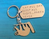 Hanging Sloth Custom Keychain.  Cute Slow Sloth.  Silver Sloth Jewelry.  Your own personalized statement