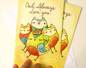 owl card, 'owl always love you' anniversary card, valentines day card,