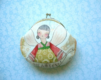 Girl and Green Bird Medium Purse – Metal frame clutch purse – red green yellow – Birthday Gift, Handmade Gift