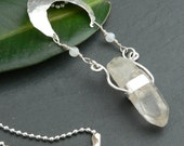 Moon Goddess Necklace with Moonstone and Quartz Crystal in sterling silver
