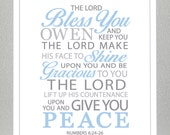 Boy Baptism gift - Numbers 6:24-26  - Print