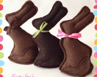 Felt Chocolate Bunny, Easter Bunny, Pretend Food