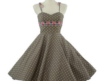 50's vintage dress Tailor Made eco friendly high quality cotton polka dots maritim look