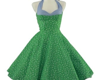 50's vintage dress Tailor Made corsage style green light blue eco friendly cotton