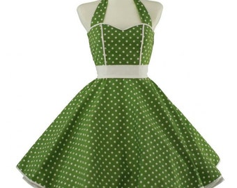 50's vintage dress full skirt green white polka dots sweetheart Tailor Made after your measurements #0014