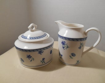 Mikasa Blue Medley Creamer and Sugar