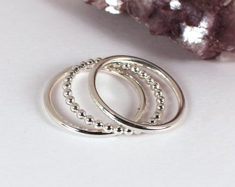 3 Silver Stacking Ring Set, 2 Smooth and 1 Beaded, Sterling Silver, Made to Order