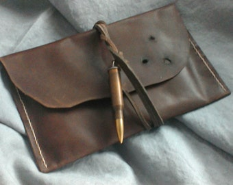 Calamity Jane e reader sleeve brown leather bullet closure Western Steampunk bullet holes handstitched distressed OOAK