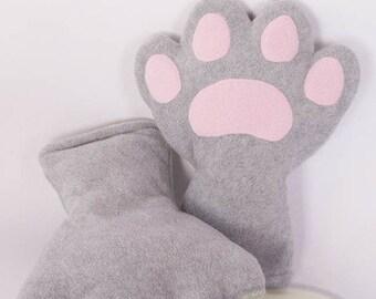 Light Grey Paws, Fleece, Claws, Accessory