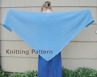 Cozy Shawl PDF Knitting Pattern, Simple Easy Shawl Wrap, Large Shawl, Stockinette Stitch, Crochet Scallop Edge