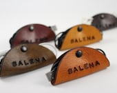 5 Leather Cable / Earbud / Cord Holders Organizers Keepers , Customized, Personalized, Antique dyed in 5 different colors YOUR NAME stamped