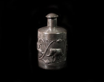 Sale-Antique Anglo Indian  Silver Perfume Bottle-Decorated with Repousee Depictions of an Elephant, Cobra, Dog & Bird