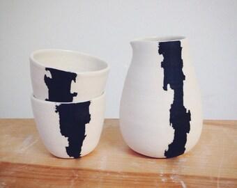 Crater Pitcher and Cup Set, Porcelain Sake Set Made to Order