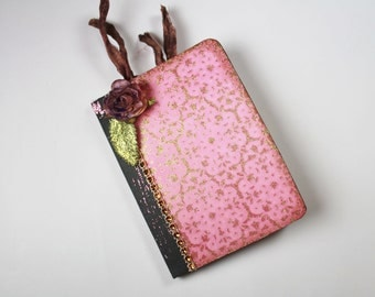 Altered Mini Notebook, Notebook, Journal, Pink Notebook, Mini Journal, Writing Journal, Stationary, Booklet, Mini Notebooks