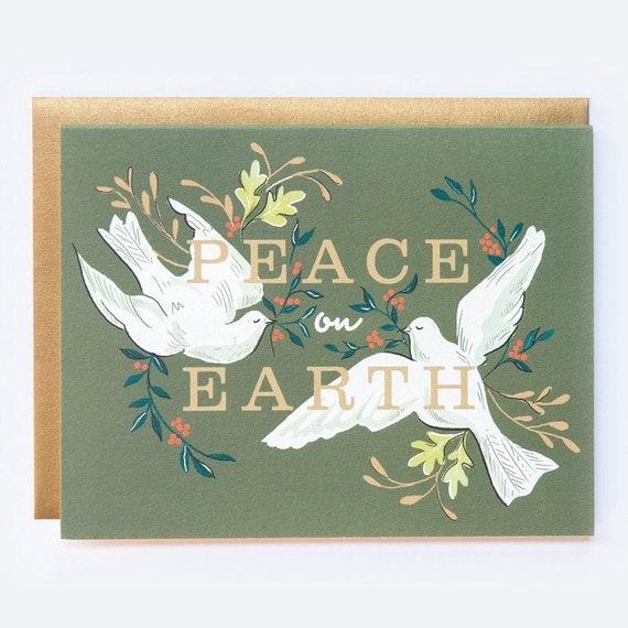 Christmas Card Peace on Earth by AmyHeitman on Etsy
