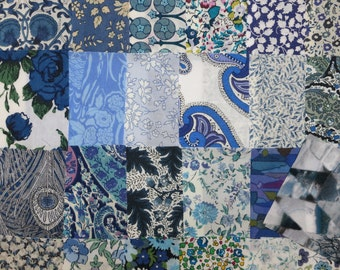 80 Blue Liberty Tana Lawn Fabric Patchwork 2.5 inch Charm Squares