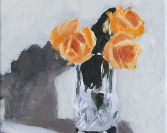 Yellow Roses in Vase, Still Life Painting, Flower Oil painting on Canvas, 10x10 inch Canadian Art floral Wall Decor
