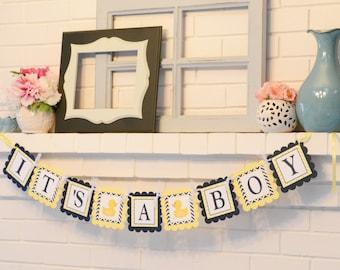 It's a Boy Ducky banner, ducky baby shower, ducky banner, rubber ducky, navy yellow banner