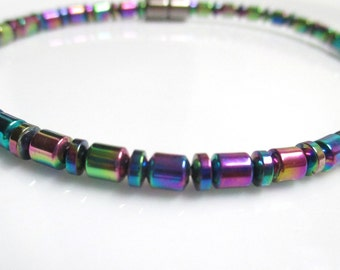 Rainbow Magnetic Hematite Bracelet