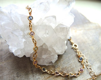 Swarovski Anklet, Multi Color Swarovski Crystal With 14K Gold Filled Bezel Anklet, Swarovski Jewelry Gifts For Her, Gold Anklet