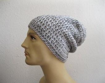 Crochet Beanie - Slouchy Beanie - Mens Hat - Gray Marble Tweed Beanie - Winter Hats - Beanies - Crochet Beanie Hat - Slouchy Beanie Hat