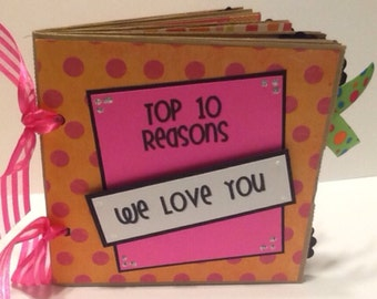 I Love You scrapbook- Top 10 Reasons We Love You paper bag album- makes a great gift for a special someone