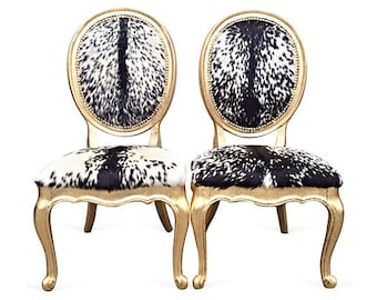 French Gold Leaf Gilded Oval Back Side Accent Dining Chairs Goat Hide Fur Animal Upholstery Custom Hollywood Elegant Fancy Modern Style