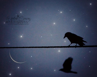 Halloween Photo Crow Sparkle Photograph, Digital Download File, The Crow, Moon Gothic Black Crow - Fine Art Photography