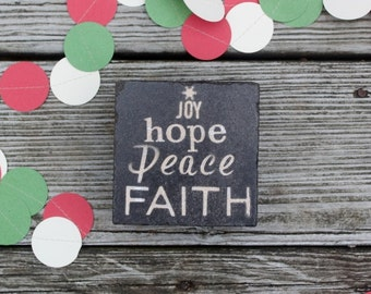 READY TO SHIP  christmas tree  typography christmas coasters  joy hope peace faith rustic christmas country christmas