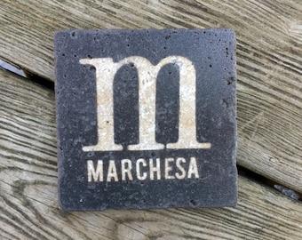 monogram stone coasters custom monogram initial last name family name wedding coasters favor rustic wedding gift groomsman gift
