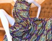 african Print Ankara Chiffon / Silk Classic 'Violet Flora' African Print Hollandais Fabric Yard) - Available in Chiffon and Silk