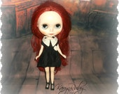 Blythe ~Wednesday Addams Aged Silk Dress  ~ Vintage Inspired  by KarynRuby