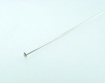 """925 Sterling Silver 24 Gauge 2"""" Head Pins"""